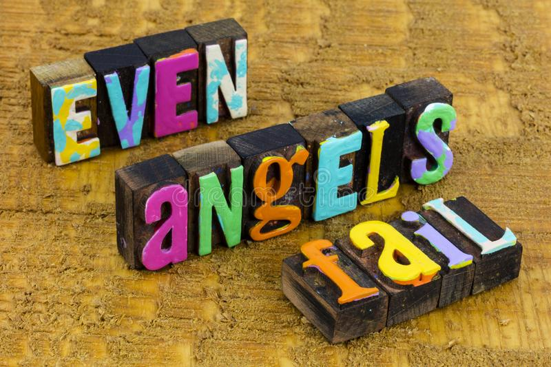Even angels fail our better angel emotion mistake succeed improve. Even guardian angels fail and our better angel emotion mistake succeed will learn and improve stock photography