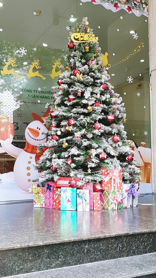 Christmas in Saigon. Even if it is over 30 degrees celcius Santa is a citizen of the world stock photos