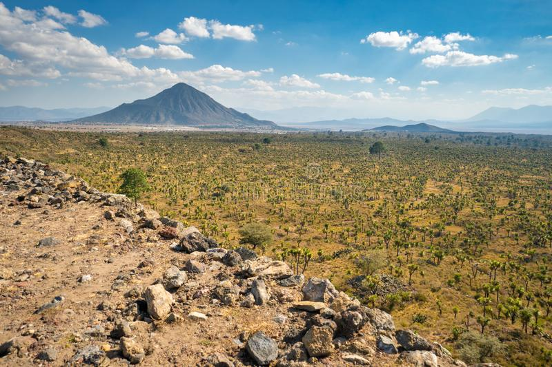 Cantona, Puebla, Mexico - a mesoamerican archaeoligical site with only few visitors. Even though Cantona can be reached by public transport on a day trip from royalty free stock photo
