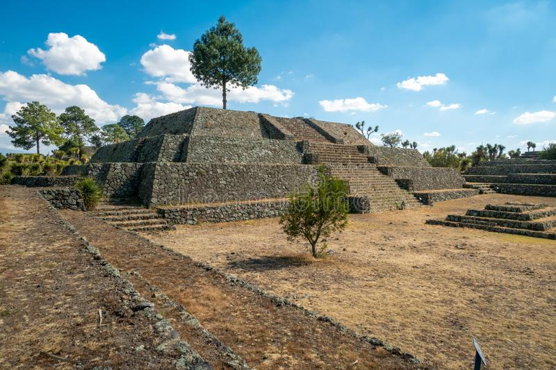 Cantona, Puebla, Mexico - a mesoamerican archaeoligical site with only few visitors. Even though Cantona can be reached by public transport on a day trip from stock image