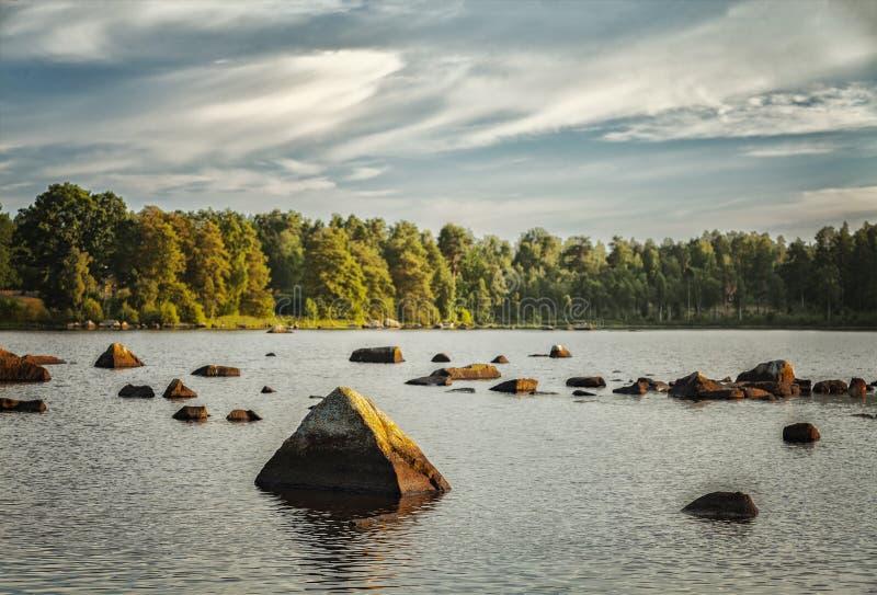 Evening湖landcsape 库存图片