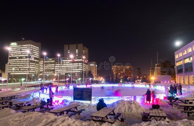 Evening Łyżwiarskiego lodowisko Ottawa zdjęcia stock