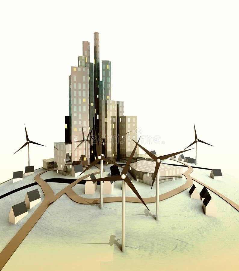 Evening światło nad odosobnionym nowożytnym pejzaż miejski z wiatraczkami ilustracji
