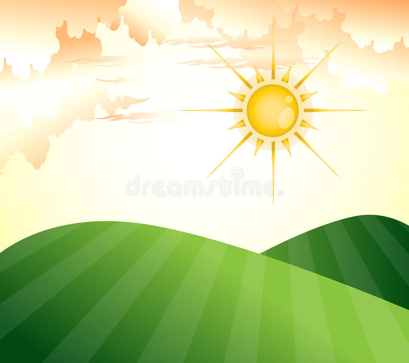 Download Evening stock vector. Image of fields, sunny, shine, sunset - 21045820