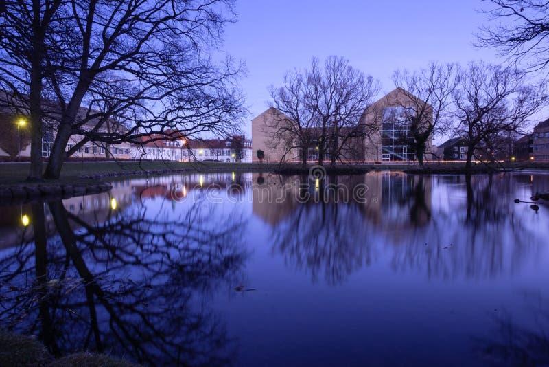 Evening at Aarhus University campus, Denmark stock photography