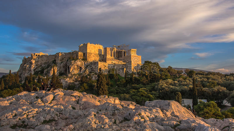 Evening At The Acropolis In Athens Stock Photo