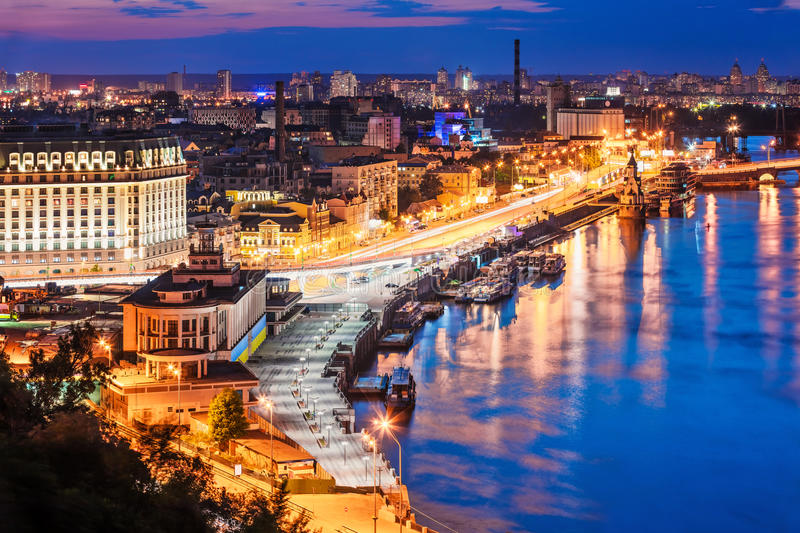 Evening aerial scenery of Kyiv, Ukraine. Scenic summer evening aerial view of Dnieper river pier and port in Kyiv, Ukraine royalty free stock image