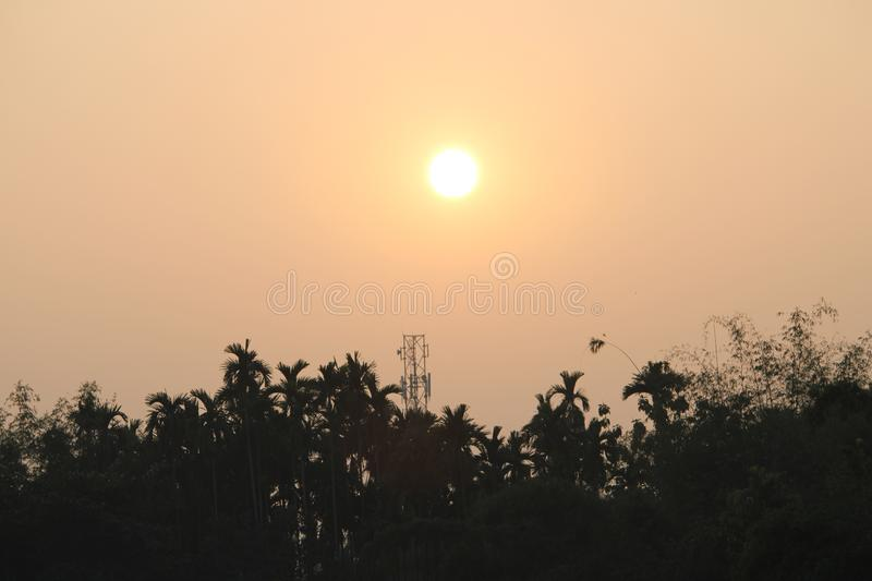 Evening background of sun with sky royalty free stock photography
