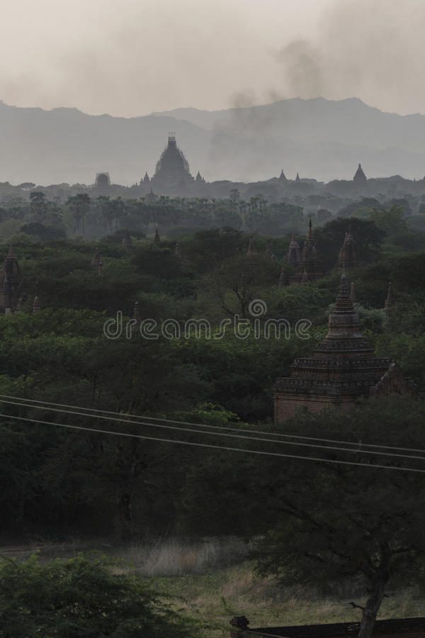 Evening of Bagan, Mandalay, Myanmar. Bagan is an ancient city located in the Mandalay Region of Myanmar. From the 9th to 13th centuries, the city was the capital royalty free stock photos