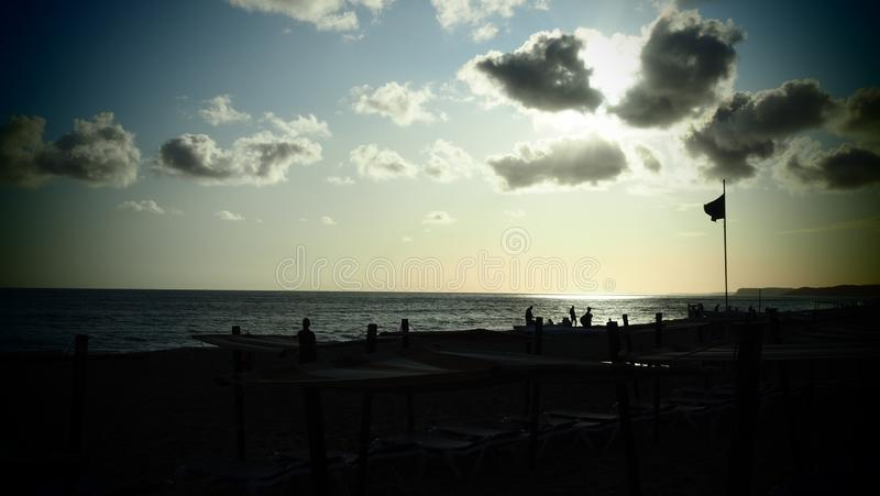 An evening on the beach in Lagos, Portugal stock photos
