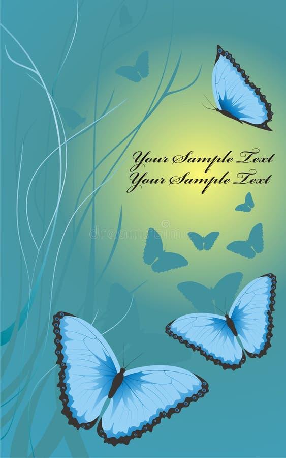Evening beautiful blue butterflies stock illustration