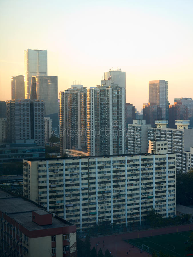 The evening Beijing. Landscape of modern city ,The evening Beijing royalty free stock image