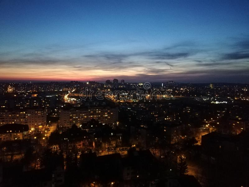 Evening in the Belgrade City. Fantastic sunset in the most beautiful city of southeastern Europe. The city lives at night royalty free stock image