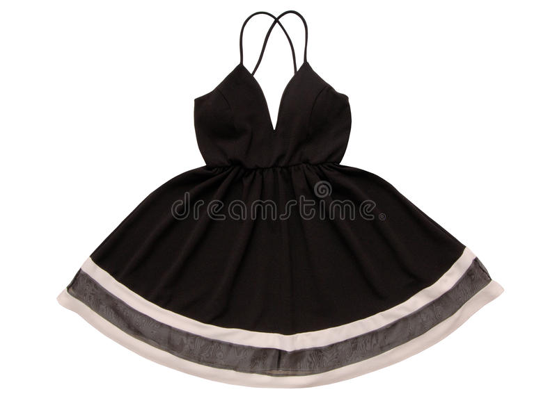 Evening black gown, dress with flared skirt and decollete, black stock image