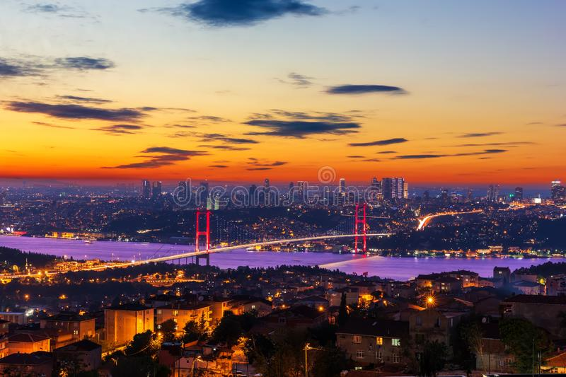 Evening Bosphorus Bridge, view from the Camlica Hill, Istanbul, Turkey.  stock photography