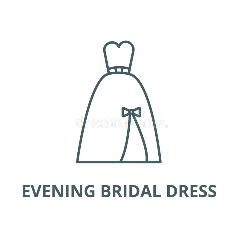 Evening bridal dress line icon, vector. Evening bridal dress outline sign, concept symbol, flat illustration royalty free illustration