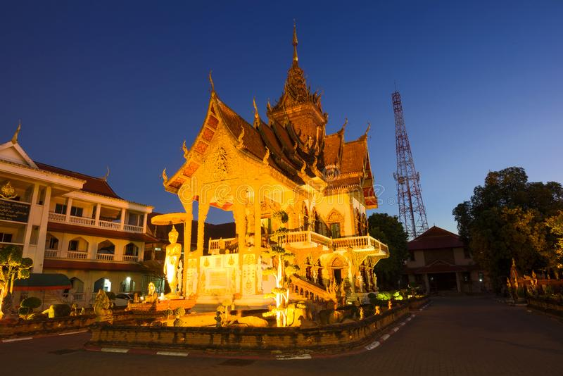 Evening on the Buddhist temple Wat Buppharam. Thailand, Chiang Mai stock images