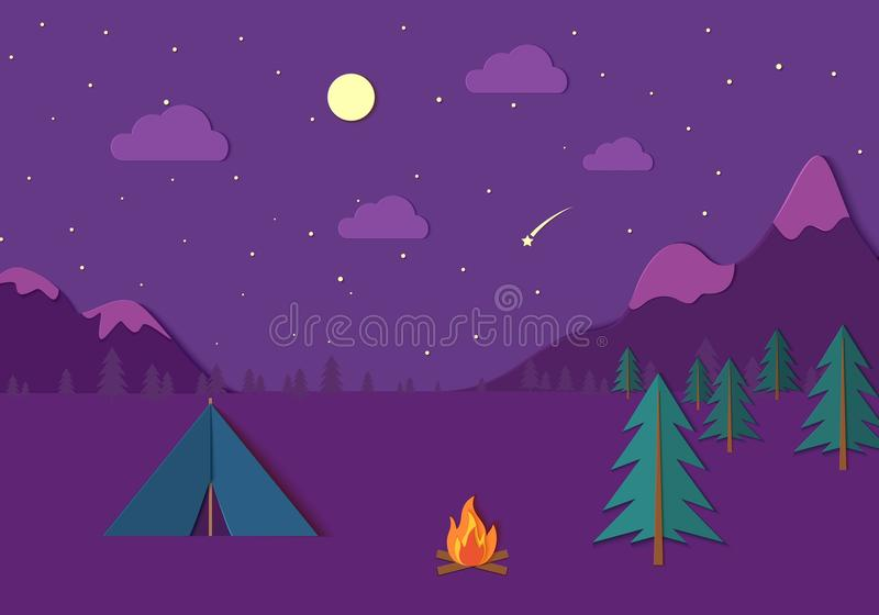Evening camp whith bonfire and tent in trandy paper cut style. Pine forest and rocky mountains. Starry night sky and royalty free illustration