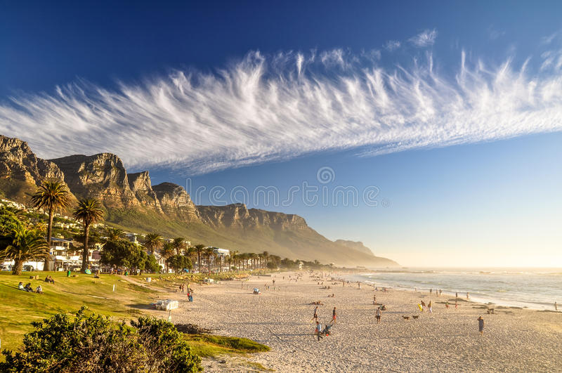 Evening at Camps Bay Beach - Cape Town, South Africa royalty free stock images