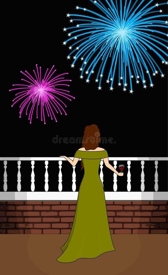 Evening Celebration with Fireworks royalty free stock image