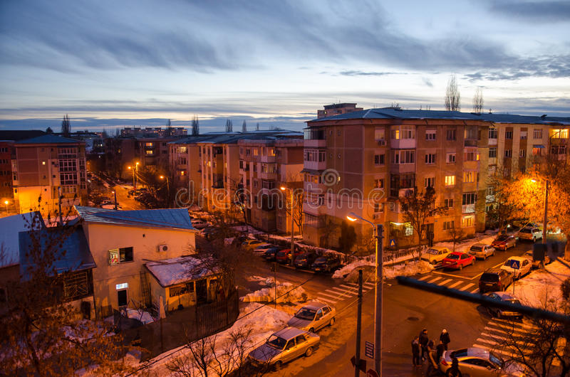 Evening in the city of Craiova stock images
