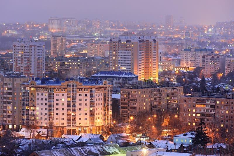 Evening city lights panoramic view, Orel, Russia. Horizontal stock photo