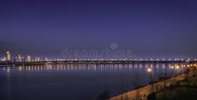 Evening city lights royalty free stock photos