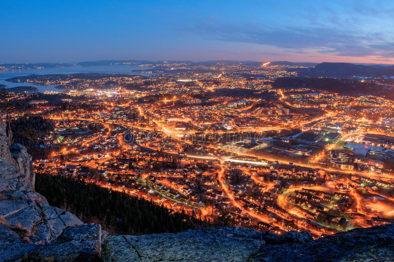 Evening city lights stock images