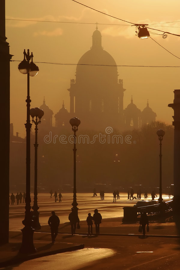 Evening City In A Smoke Royalty Free Stock Images