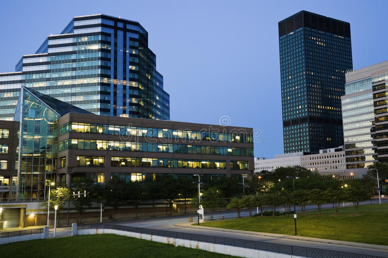 Evening in Cleveland stock photography