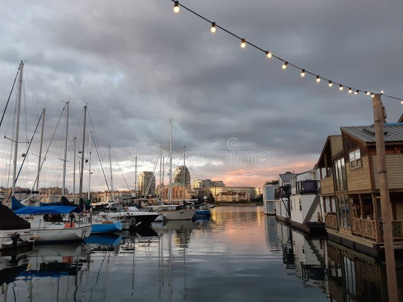 Evening at Victoria Fisherman`s Wharf royalty free stock photo