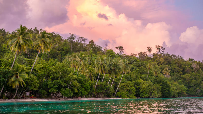 Evening Clouds over Jungle during Sunset on Gam Island, West Papuan, Raja Ampat, Indonesia. Evening Clouds over Jungle on Sunset on Gam Island, West Papuan, Raja stock images