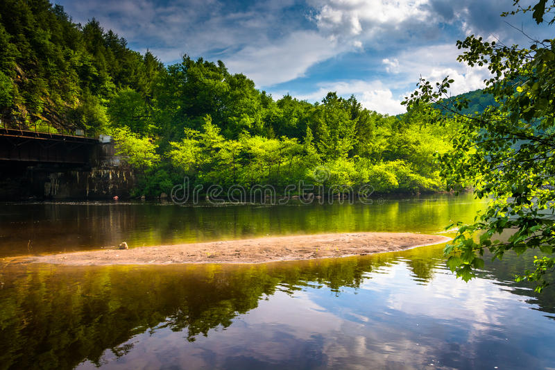 Evening clouds reflections in the Lehigh River, at Lehigh Gorge stock photos