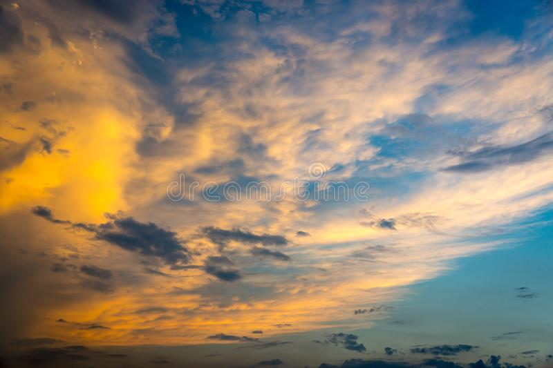Clouds in sky after sunset stock photo