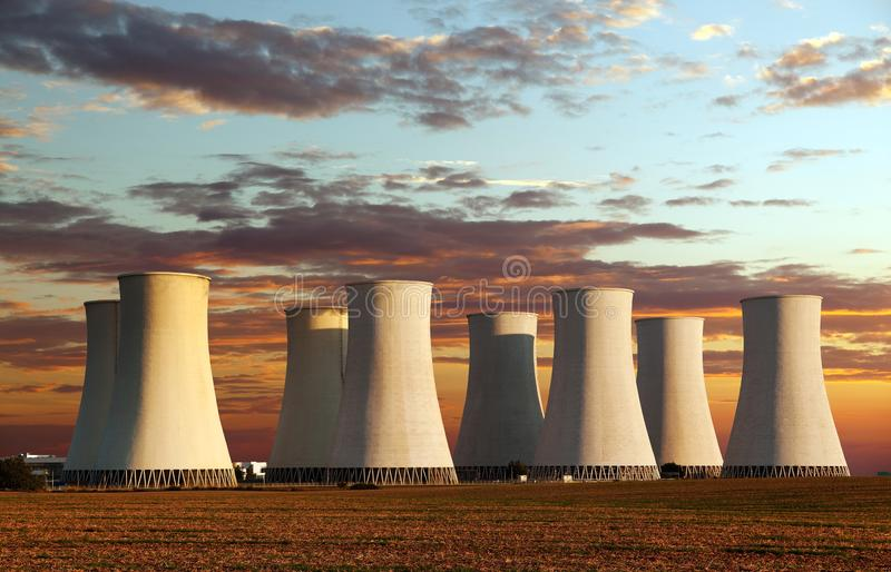 Evening colored sunset view of Nuclear power plant. Jaslovske Bohunice - Slovakia stock images