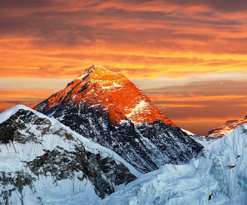 Evening colored view of Mount Everest from Kala Patthar royalty free stock images