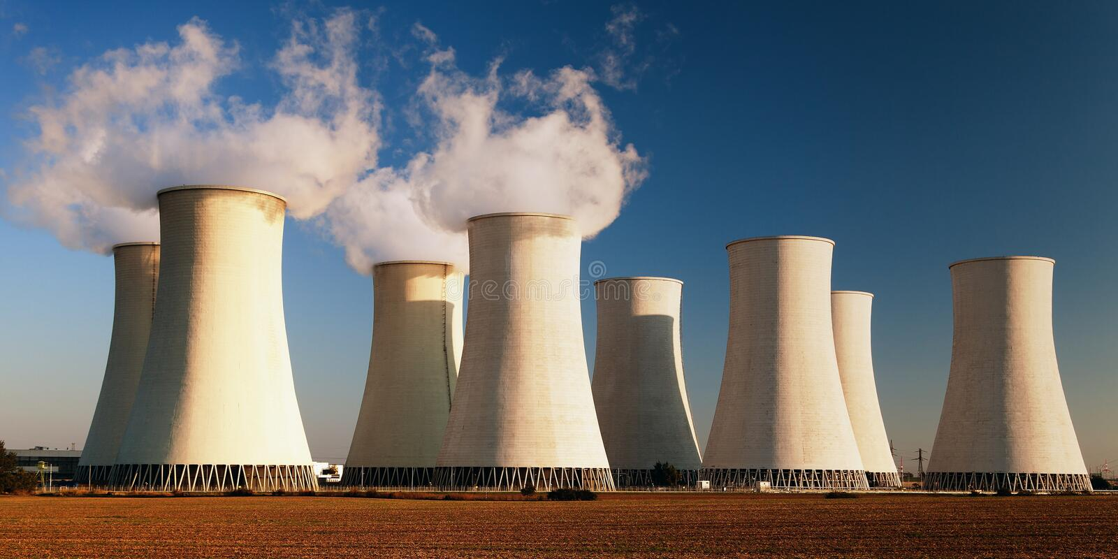 Evening colored view of Nuclear power plant stock images