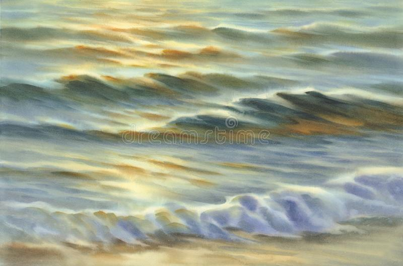 Evening colors by the sea watercolor background stock photography