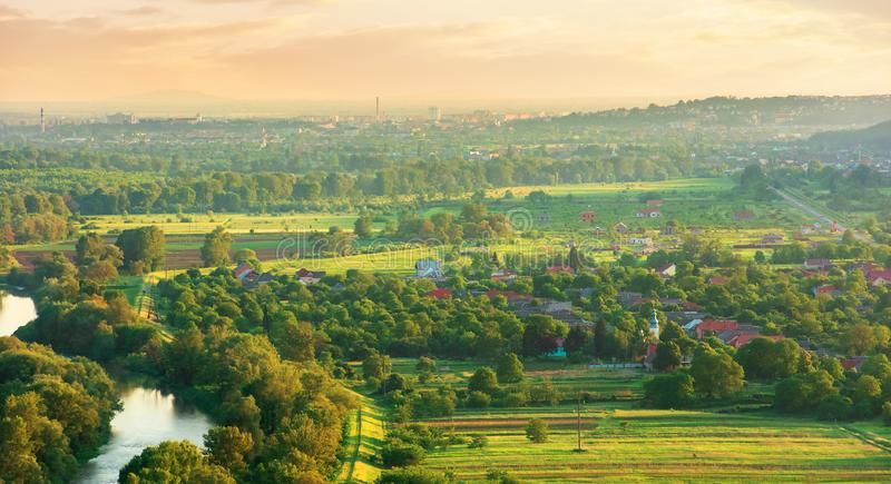 Evening countryside scenery in springtime royalty free stock photos