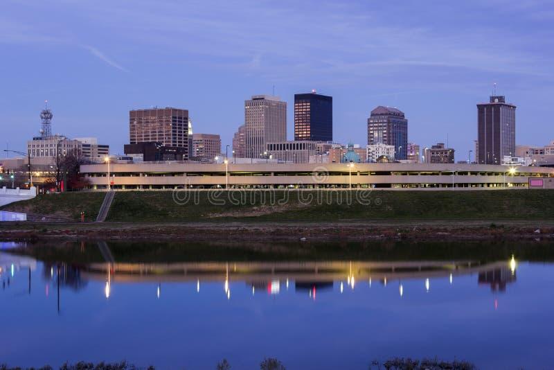 Evening in Dayton, Ohio. Evening in Dayton across Great Miami River. Dayton, Ohio, USA stock images