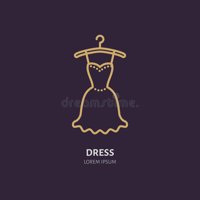 Evening dress on hanger icon, clothing shop line logo. Flat sign for apparel collection. Logotype for laundry, clothes royalty free illustration