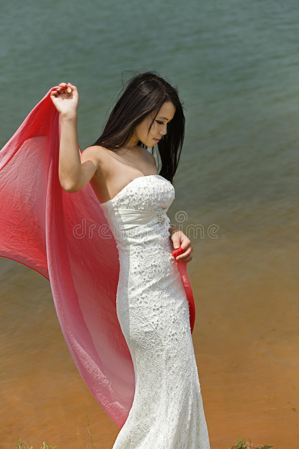 Download An Evening Dressed Girl By Water Stock Photo - Image: 25525180