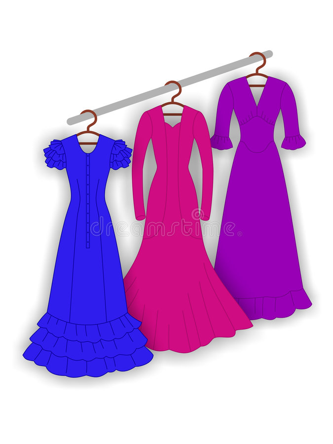 Evening dresses stock illustration