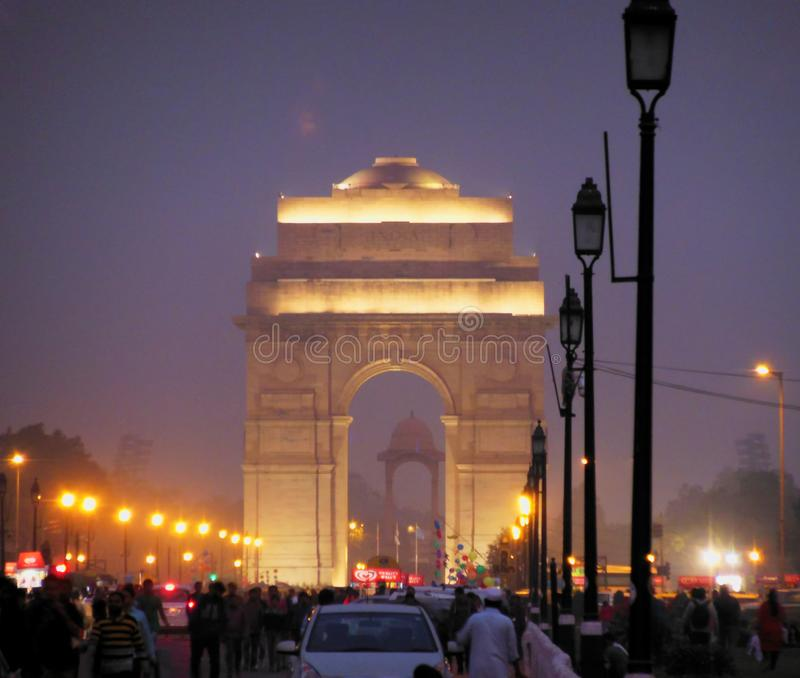 Evening dusk time image of Arch of India Gate at New Delhi war memorial in New Delhi 19 November 2017 New Delhi India. Evening dusk time image of Arch of India royalty free stock images