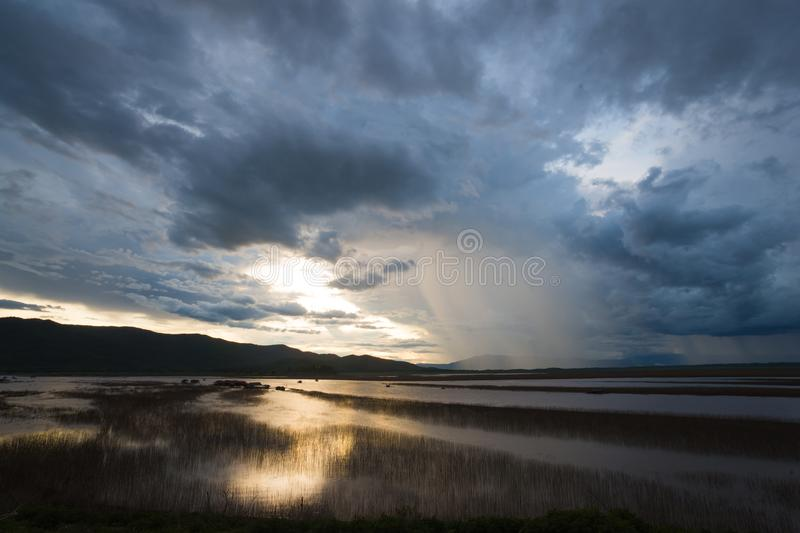 Download Lake View Floating House Boat Of Fishing Village At Sunset With Cloud, Rain And Storm. Stock Photo - Image of mist, chiangmai: 117713776