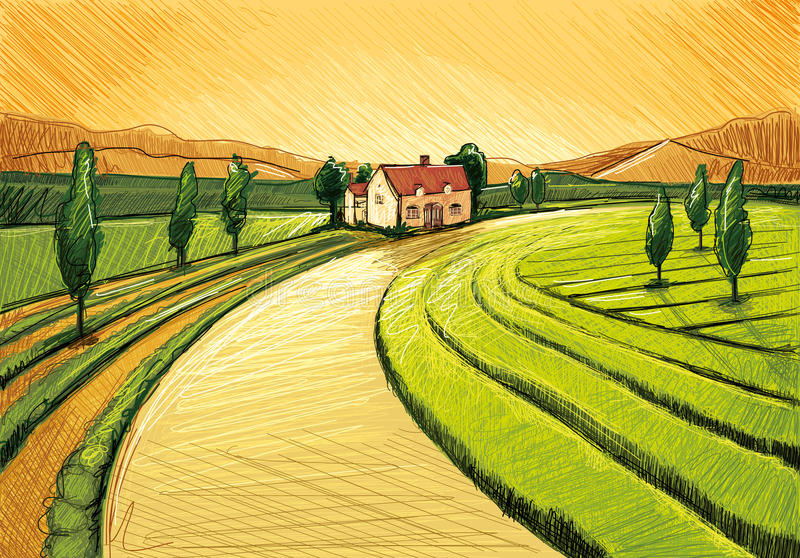 Evening Farm. Digital Drawing Landscape with Trees,Plants,Agriculture and a Farm stock illustration