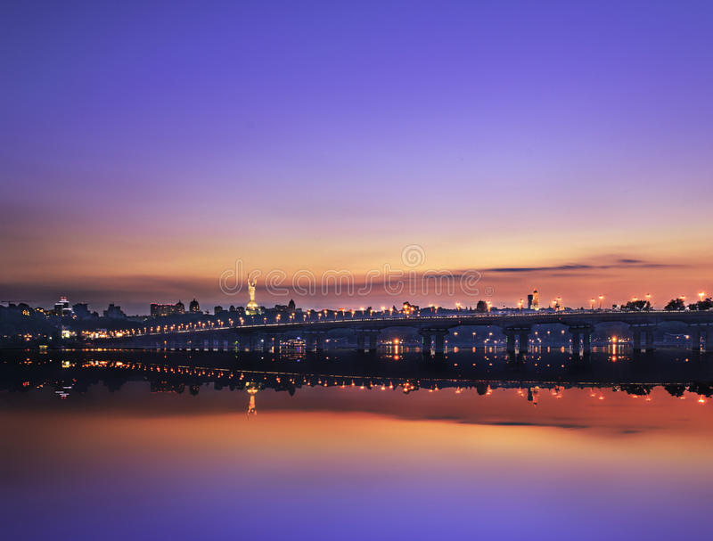 Evening fell on the city royalty free stock photo