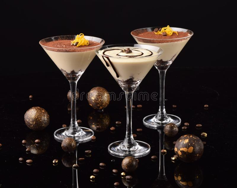 Gourmet dessert on black background stock photos