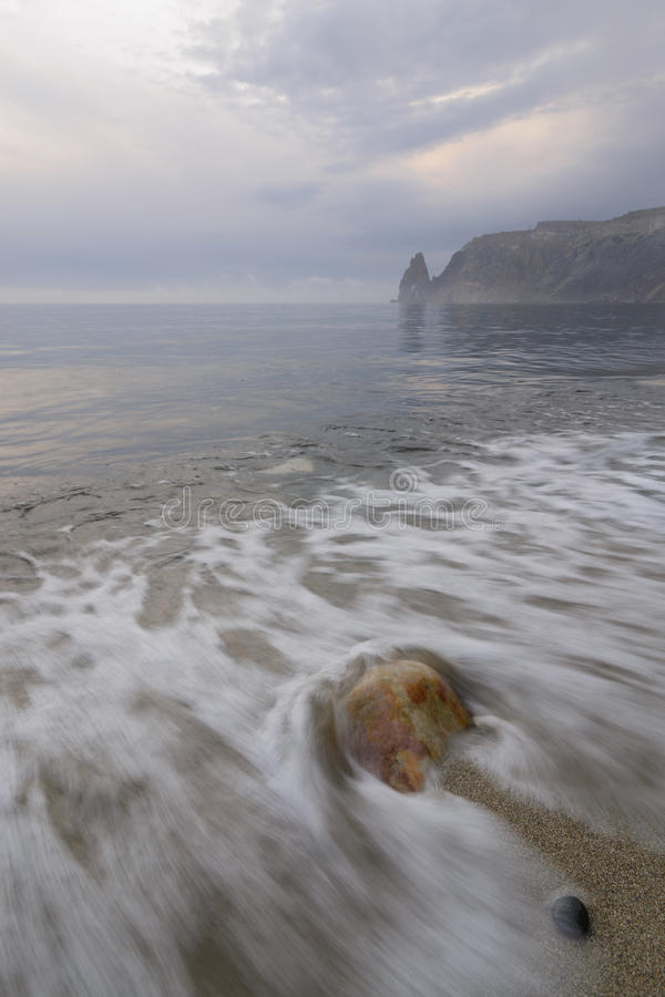 Evening of Fiolent. Evening on the beach of the Fiolent Cape. Crimea stock image