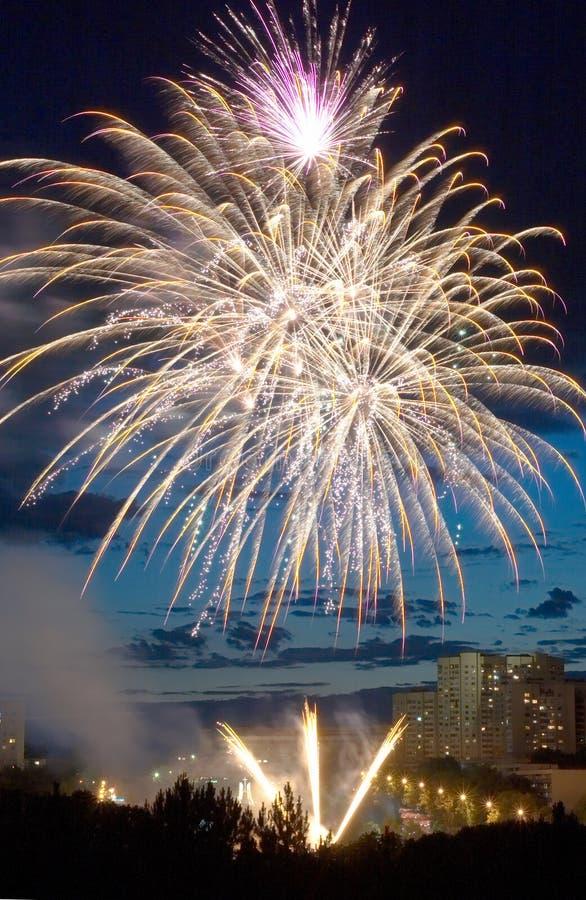 Evening fireworks stock photos